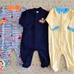 ไซส์ 3-6 เดือน ชุดหมีเด็กแบบคลุมเท้า แขนยาว แพ็ค 3 ตัว