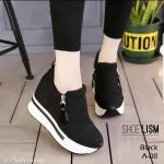 รองเท้าผ้าใบสไตล์เกาหลี ซิปข้าง เสริมส้นด้านใน