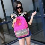 Bag Fashion กระเป๋าเป้สะพายหลัง กระเป๋าลายผ้าซินชาวเหนือ รุ่นMM (สีชมพู)