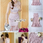 Dress Pink Embroidery Lace Lady Sweet