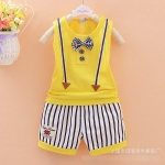 [ไซส์ L 1-2 ปี] เสื้อกล้ามเด็ก Summer กางเกงขาสั้น - สีเหลือง