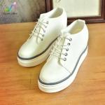 รองเท้าเสริมส้นแฟชั่นเกาหลีแบบผูกเชือก วัสดุหนังPU