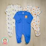 ไซส์ 0-3 3-6 6-9 เดือน ชุดหมีเด็กขายาวคลุมเท้า เซ็ต 3 ตัว