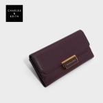 กระเป๋าสตางค์ CHARLES & KEITH PUSH-LOCK LONG WALLET CK6-10770272 แบบยาว หนังคาร์เวียร์