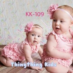 ชุดบอดี้สูทเด็กหญิงสีชมพูระบายพร้อมคาดผม ไซส์ 80,90,100