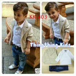 ชุดเด็กชาย เสื้อสีขาว เสื้อสูทสีครีม กางเกงยีนส์ห้าส่วน ไซส์ 2T,3T,4T,5T,6T,7T,8T