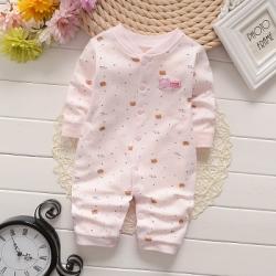 ไซส์ 0-3 3-6 เดือน ชุดหมีแขนยาว ขายาวผ้านิ่มพิเศษ - สีชมพู