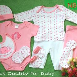 เซทเด็กเล็ก 9 ชิ้น สีชมพู ไซส์ 0-3 เดือน