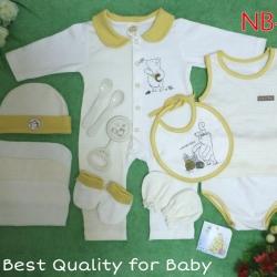 เซทเด็กเล็ก 12 ชิ้น สีขาวเหลือง ไซส์ 0-3 เดือน