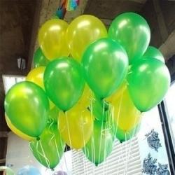 ลูกโป่งมุกโทนเขียวเหลือง ร้านจัดสีให้ แพค 10 ใบ 60 บาท