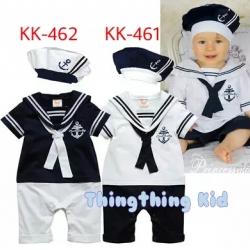 ชุดบอดี้สูทเด็กชายสีน้ำเงินทหารเรือ พร้อมหมวก ไซส์ 90