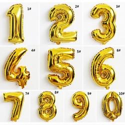 ลูกโป่งฟอยล์ตัวเลข 16 นิ้ว สีทอง