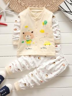 ไซส์ 80 90 100 ชุดนอนเด็กเล็ก แบบติดกระดุมหน้า - สีเหลือง