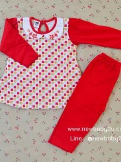 ไซส์ 12-18,18-24 เดือน ชุดนอนเด็ก mami เนื้อผ้านิ่มใส่สบาย สีแดง