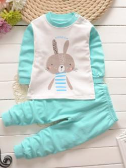ไซส์ 73 80 90 100 110 ชุดนอนเด็กแขนยาว ขายาว ผ้านิ่มๆน่ารักมาก - ลายกระต่าย สีมิ้น