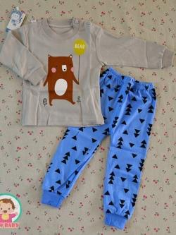 ไซส์ 73 90 100 110 120 ชุดนอนเด็กแขนยาว ขายาว ผ้านิ่มๆน่ารักมาก - ลายหมีถือลูกโป่ง