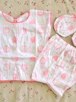 ไซส์ 0-3 เดือน Kerokid ชุดเสื้อผ้าเด็กอ่อน 4 ชิ้น - สีส้ม