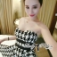 DR-LR-132 Lady Nicole Sexy Glam Strapless Houndstooth Dress thumbnail 2
