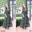 Maxi Dress เดรสผ้าโรนัลโด้คอวีปาดเฉียง พิมพ์ลายดอกไม้ thumbnail 5