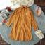 Dress เดรสปกเชิ้ตลายริ้วทางตรงผ้าทอแขนยาวชายแขนจั้ม thumbnail 8