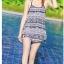 2007 ชุดว่ายน้ำ เซ็ต 4ชิ้น บรา+บิกินี่+ขาสั้น+เสื้อคลุม สีขาวดำลายสวย thumbnail 10
