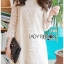 Jessica Sweet Elegant High-Neck Guipure Lace Dress in Off-White L219-75C04 thumbnail 5