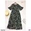 Maxi Dress เดรสผ้าโรนัลโด้คอวีปาดเฉียง พิมพ์ลายดอกไม้ thumbnail 10