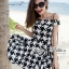 DR-LR-192 Lady Jackie Easy Glam Off-Shoulder Hounds-tooth Dress thumbnail 3
