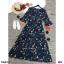Maxi Dress เดรสผ้าโรนัลโด้คอวีปาดเฉียง พิมพ์ลายดอกไม้ thumbnail 9