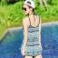 2007 ชุดว่ายน้ำ เซ็ต 4ชิ้น บรา+บิกินี่+ขาสั้น+เสื้อคลุม สีขาวดำลายสวย thumbnail 14