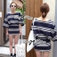 Lady Rebecca Minimal Chic Striped Cotton Jersey Set L129-69C06 thumbnail 4