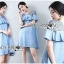 Lady Chrisele Studded Embroidered Frilled Polyester Mini Dress L257-85C05 thumbnail 2