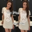 Lady Sarah Neutral Combined Lace Mini Dress L135-75E12 thumbnail 1