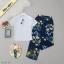 Set 2 ชิ้น เสื้อยืดคอตตอลเนื้อนิ่ม มาคู่กับกางเกงขายาว thumbnail 3