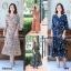 Maxi Dress เดรสผ้าโรนัลโด้คอวีปาดเฉียง พิมพ์ลายดอกไม้ thumbnail 1