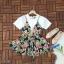 มินิเดรสตัวเสื้อเป็นผ้าโฟเวย์เนื้อหนาสีพื้นขาว thumbnail 6