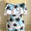 SM-V1-403 ชุดว่ายน้ำวันพีช เว้าเอว สีฟ้าขาวลาย coconut tree thumbnail 3