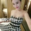 DR-LR-132 Lady Nicole Sexy Glam Strapless Houndstooth Dress thumbnail 3