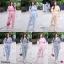 เซ็ท 2 ชิ้น (set) งานเซท #สาวอวบ เสื้อคอวี ไขว้อก จั้มเอว ผูกโบว์หลัง แขนระบาย thumbnail 1