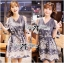 Lady Elie Casual Cut-Out Lace Embroidered Dark Denim Dress thumbnail 1