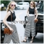 Lady Celina Minimal Chic Cropped Top and Striped Pants Set L259-7918 thumbnail 1