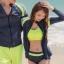 ชุดว่ายน้ำแขนยาว สีเทา กางเกงเขียวสะท้อนแสง (เซ็ต 4 ชิ้น) thumbnail 6