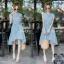 Dress เดรสสั้นลายริ้ว คอจีน แขนกุด ติดกระดุมด้านหน้า thumbnail 2