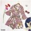 จั้มสูทขาสั้น คอวีไขว้แขนระฆังพิมพ์ดอกไม้ทั้งชุด thumbnail 3