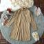 Dress เดรสปกเชิ้ตลายริ้วทางตรงผ้าทอแขนยาวชายแขนจั้ม thumbnail 9