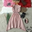 Dress เดรสคอกลมติดกระดุมหลัง 1 เม็ด แขนกุดระบาย thumbnail 9