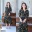 Maxi Dress เดรสผ้าโรนัลโด้คอวีปาดเฉียง พิมพ์ลายดอกไม้ thumbnail 3