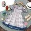 Dress เดรสผ้าชีฟองลายริ้วใหญ่ แขนเปิดไหล่ thumbnail 5