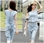 Lady Blaire Sporty Chic Embellished Zipper Denim Jumpsuit L201-85C10 thumbnail 1