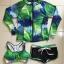 2004 ชุดว่ายน้ำแขนยาว palm leaf โทนสีเขียวน้ำเงินขาว เซ็ต 3 ชิ้น thumbnail 2